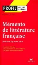 کتاب فرانسوی Profil - Memento de la littérature française